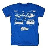 TSP Zurück in die Zukunft - Delorean Blueprint T-Shirt Herren S Königsblau