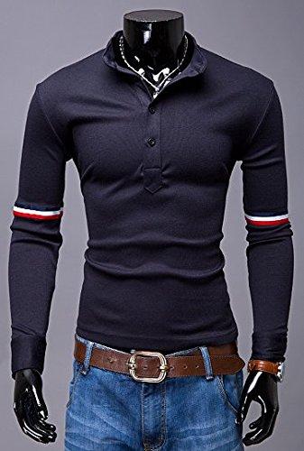 BOMOVO Herren Langarm T-Shirt Langarm Shirt mit V-Auschnitt für Sport & Freizeit dark blau