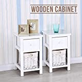 UEnjoy Bedside Cabinet White Wooden Drawer and 2 Woven Drawer Storage Unit
