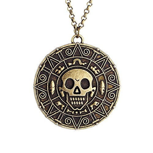 Pirates of the Caribbean Movies Cursed Aztec Coin Medallion Halskette Schädel Halskette-Anqitue Brass (01003817-1) ()