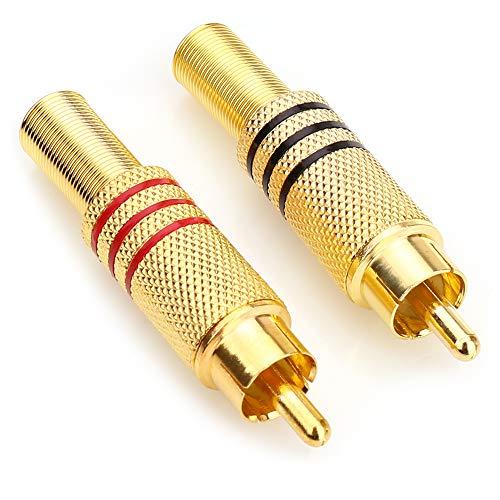 tsprecher phono rca stecker auf 2 schraubklemmenleiste audio video typ balum stecker adapter für multimedia und cctv (2 paket) ()