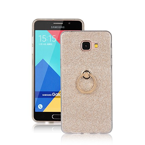 Skitic Bling Glitter Sticker Pellicola Custodia per Samsung Galaxy A5 (2016), Lusso Ultra Sottile Morbido TPU Bumper Brillare Posteriore Protettiva Case Cover con 360 Degree Rotating Metallo Ring Stand Holder - Oro