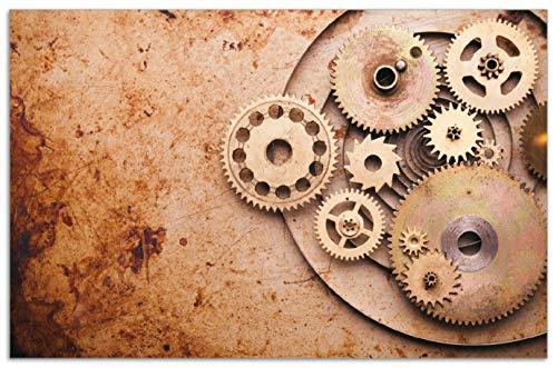 Wallario Herdabdeckplatte/Spritzschutz aus Glas, 1-teilig, 80x52cm, für Ceran- und Induktionsherde, Motiv Zahnräder Einer Alten Uhr im Alten Stil (Uhr Alten Stil)