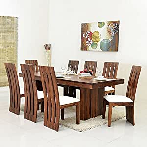 ... @home By Nilkamal Delmonte Eight Seater Dining Table Set (Brown) & home By Nilkamal Delmonte Eight Seater Dining Table Set (Brown ...