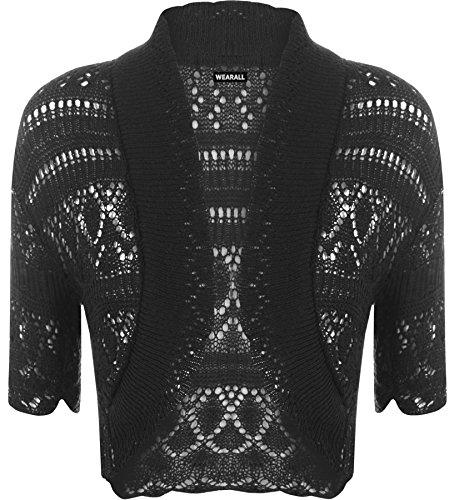 Lavorato a maglia a maniche corte da Donna WearAll - Bolero 18 - colori - dimensioni 36-42 Nero