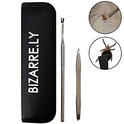 BIZARRE.LY 2pc Stainless Steel Tick Remover Set with Holder Case 2-in-1 Removal Tweezer Tool and Hook - Treatment and… 1