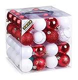 64x Kunststoff Christbaumkugeln Ø 6cm Kugel Box Glanz Glitzer Matt Dekor Inge, Farbe:Weiß-Rot