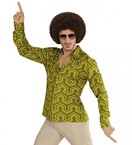 (70er Jahre Retro Hemd mit Tapetenmuster Grün Disco Herren Kostüm Siebziger Schlager, Größe:XXL)
