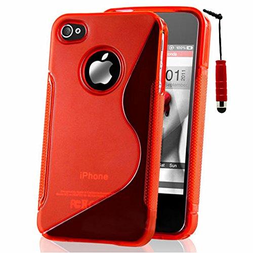 VComp-Shop® S-Line TPU Silikon Handy Schutzhülle für Apple iPhone 4/ 4S/ 4G + Großer Eingabestift - TRANSPARENT ROT + Mini Eingabestift