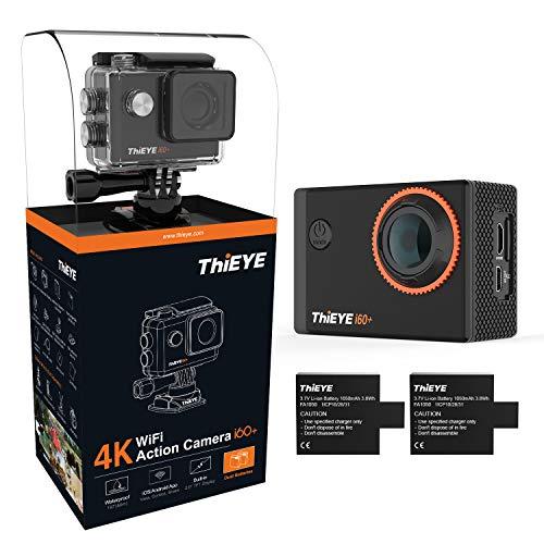 ThiEYE i60+ Action Camera 4k WiFi Ultra HD 12MP WiFi Action Kamera 60 Meter Wasserdicht 170° Weitwinkel / 2 Zoll LCD-Bildschirm/App Control / 2 Akkus/Zubehör