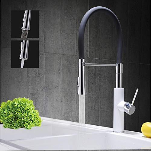 LLLYZZ Chrom Messing Spüle Wasserhahn Pull-Down-Sprayer Black Rubber Design Bad Küche warmes und kaltes Wasser Mischbatterie - Pull-down-spüle