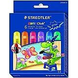 Staedtler 2390M C6 Noris Club Gelmalstifte (6 Stück im Set, Glitter-Farben, perfekt für kleine Kinderhände, superweich und farbintensiv, auch ideal für das deckende Malen auf Fensterglas)