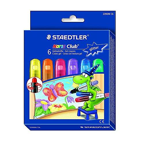 Preisvergleich Produktbild Staedtler 2390M C6 Noris Club Gelmalstifte (6 Stück im Set, Glitter-Farben, perfekt für kleine Kinderhände, superweich und farbintensiv, auch ideal für das deckende Malen auf Fensterglas)