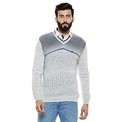 Duke Men Solid Sweater Ecru Coloured Large