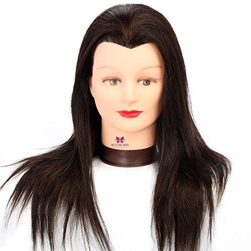 Neverland Tête d'exercice 100 cheveux humains Tête à coiffer Professionnel Cosmétologie Mannequin Head 50cm noir