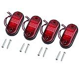 Justech 4 x Luci di Posizione Luci Laterali Luci di Posizione Indicatore LED Fanali Posizione Universale per 12V 24V Auto Rimorchio Camion Autocarro Caravan Bus - Colore Rosso