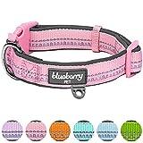Blueberry Pet 1,5cm S 3M Reflektierendes Neopren-Gepolstertes Hundehalsband in Pastell-Babypink, Kleine Halsbänder für Hunde