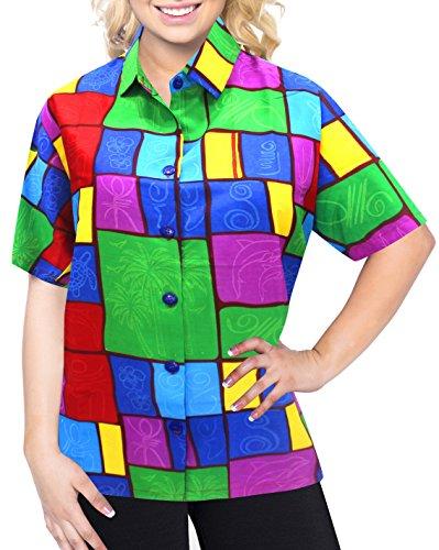 La Leela Entspannt Hawaiihemd Urlaub Blusen zuknöpfen Frauen mit Kurzen Ärmeln Grün m (Hawaii-hemden Besticktes)