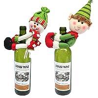 MSQ® 2pcs Christmas Wine Bottle Cover Ornament Novelty Decoration Snowman Santa Clause Hug Bottle Christmas Xmas Gift Party Table Tree Decoration (White+Green)