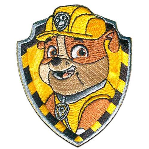 Aufnäher/Bügelbild - Paw Patrol 'Rubble' - gelb - 7x6cm - Patch Aufbügler Applikationen zum aufbügeln Applikation Patches Flicken Patrol Jacke