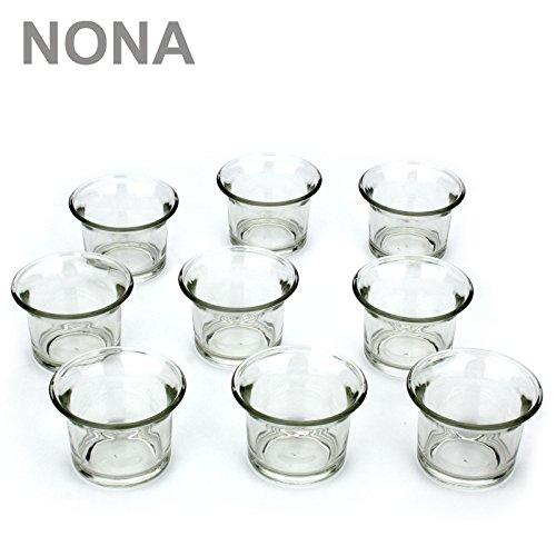 NoNa 4,5 cm Teelicht-Gläser - Neun im Set - KLAR - Teelichtglas Kerzenglas Kerzengläser Teelichthalter Klar-glas