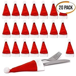 The Twiddlers 20er Pack Mini Nikolaus Hut Besteckhalter Weihnachten - Weihnachtsmütze Perfekt für Weihnachtsfeiern und Festliche Dinner - Ideales Geschenk für Partygäste