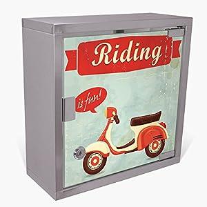 banjado Medizinschrank aus Edelstahl | Arzneischrank abschliessbar 30x30x15cm | Erste Hilfe Schrank mit 2 Schlüsseln | Medikamentenschrank Klein | Hauspotheke mit Motiv Riding is Fun