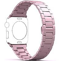 PUGO TOP Ersatz armband für Apple Watch Armband alle Modelle, Edelstahl mit Metallschließe, Ultra-dünne Serie - Rose Gold 38mm