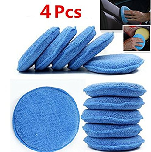 WildAuto - Mikrofaser Wachs Applikator - Auto Schaum Wachs Schwamm Applikator Pads - blau (5 'Durchmesser, 4 Stk)