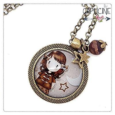 Sautoir bronze avec cabochon verre petite fille - Long collier rétro - Ballade Nocturne - idée cadeau, noël, saint valentin, anniversaire, pour femme
