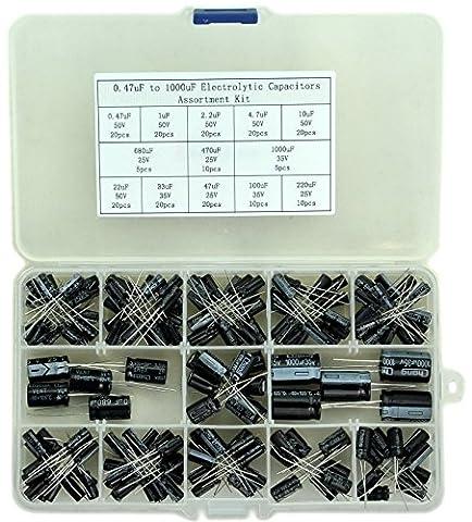 Electronics-Salon 0.47uF to 1000uF Electrolytic Capacitors Assortment Kit, 13 Values,