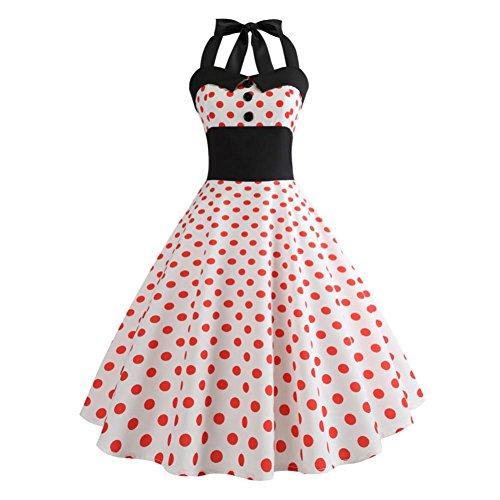 Xmansky Frauen Audrey Hepburn Vintage Kleid, 50er Jahre 60er Jahre Retro White Polka Dot ärmelloses Halfter Bodycon Abendgesellschaft Prom Swing Dress (L, Orange)