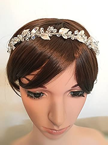 Aukmla Bandeaux Mariage Cristal Floral Oreillette Silvery Feuilles de mariage Accessoires Cheveux pour demoiselle d'honneur et de fleur