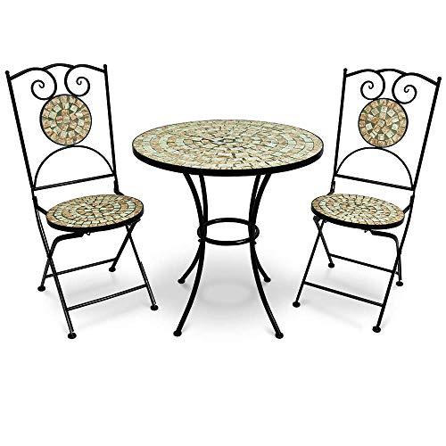 Deuba Mosaik Sitzgruppe Bilbao 3 TLG. Set I Mosaiktisch Rund Ø 60 cm mit 2 Stühlen I Gartenmöbel Balkonset Garten Tisch - Runde Tisch-stuhl-sets