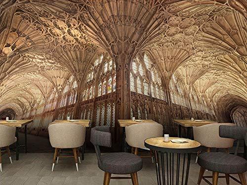 Gewohnheit jeder Größe Europäische Architektur Kirche Raum 3D Hintergrund Wandaufkleber Ausgangsdekor Tapete Wandbild