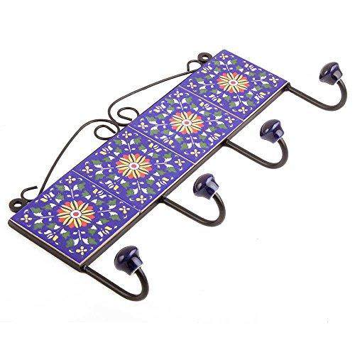 IndianShelf Handmade Marine blaue Rad Fliesen Keramische Wand Haken Tuch Mäntel Kleiderbügel Schlüssel Zubehör Inhaber Online (Schlüssel Fliese)