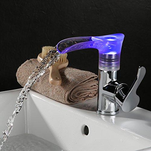 KINSE® Grifo de Lavabo Grifo Moderno Cascada Baño LED RGB Cambio Color Cromo Plateada Latón y Cristal Diseño