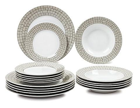 Borella Casalinghi Trend Service de table 18 pièces, porcelaine, multicolore