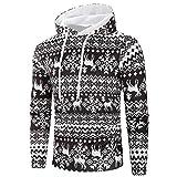 Soupliebe Herren Casual Weihnachten gedruckt Langarm Pullover Sweatshirt Hoodie Mantel Top