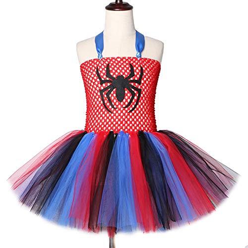QWER Mädchen Spinne Tutu-Kleid knielangen Tüll-Kind-Mädchen-Halloween-Karnevals-Partei-Kleid-Kinder Cosplay Spiderman (Mädchen Superheld Tutu Kostüm)