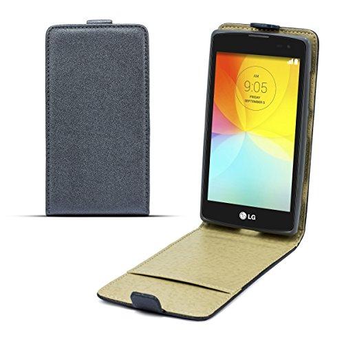 Moozy Magische Diamant Glanz Effekt Premium Shine Pocket dünne Flip Handy Tasche LG D290 L Fino Vertikale Hülle Grau Tln