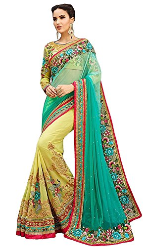 Indian E Fashion Women\'s Turquoise & Yellow Georgette & Net Material Partywear Saree With Blouse Piece (Turquoise & Yellow)