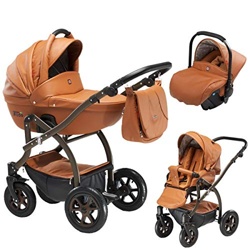 Lux4Kids Kinderwagen 3in1 Megaset Buggy Autositz Babyschale Isofix Frido Sugar Brown TDECO4 3in1 mit Autositz
