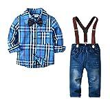 Yilaku Bebés Juego de Ropa de la Camisa de los Pantalones Vaqueros de 2 Pedazos con Corbata de moño Traje de Diariamente