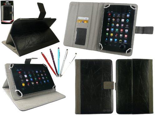 emartbuy Packung mit 5 Doppelfunktion Eingabestift+Universalbereich Schwarz Distressed PU Leather Folio Wallet Tasche Etui Hülle mit Kartensteckplätze Geeignet für I.onik TP - 1200QC(7.85 Zoll)