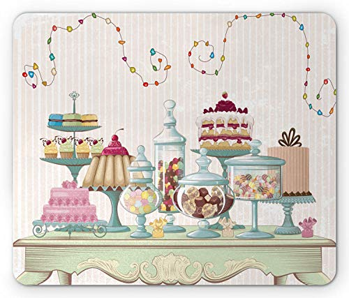SHAQ Cookie Mouse Pad, Appetizing Cakes and Glass Jars Set on a Fancy Table Vibrant Swirling Ornaments, Standard Size Rectangle Non-Slip Rubber Mousepad, Multicolor - Glass Jar-cookies