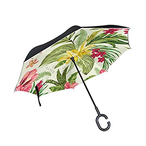 BENNIGIRY Tropical Hawaiian Plumeria And Hibiscus Flowers Print Windproof Reverse Folding Double Layer Inverted Umbrella with C-shaped Hands Free Handle for Travelling and Car Use