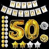 Festa di Compleanno Palloncini Set - Foil Lattice Palloncini e Happy Birthday striscione Decorazioni in Oro & Argento - Decorazione Accessori Adatta per Tutti gli Adulti (Age 50 Palloncini)