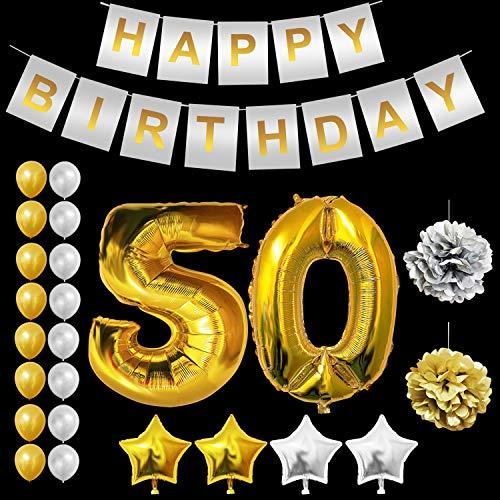 BELLE VOUS Geburtstag Luftballon Dekorationen Set - Gold 50 Luftballons, Gold & Silber Latexballons, Sterne Folienballons, Happy Birthday Banner, Pompoms für Geburtstag Partei Dekoration (Age 50) (Billig 50 Geburtstag Dekorationen)