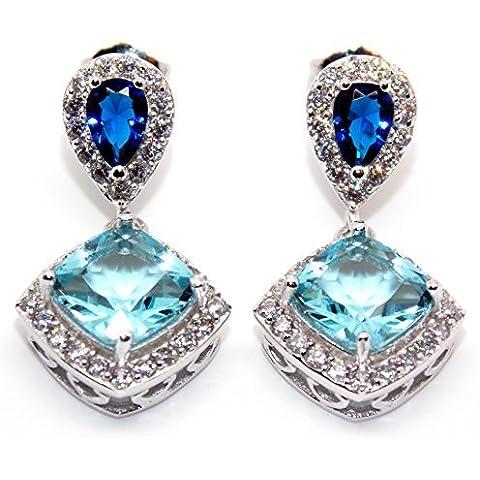 Argento Sterling, con zaffiro blu, topazio blu e diamante 6.26ct Orecchini (925)